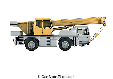 Mobile crane in studio on light background