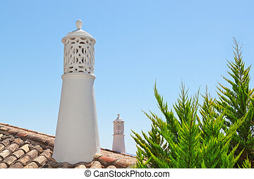 Decorative chimney on the roof of the Portuguese at home....
