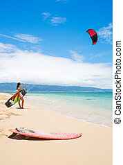 Kite Surfing - Kiteboarder on Beautiful Beach