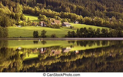 Lake in forest - Beautiful lake with cristal water hidden in...