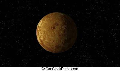 Venus No Atmosphere Rotates Looping - 3D animation of planet...