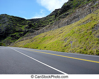 Empty Road along a lush green mountain