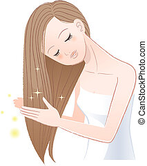 Young pretty woman stroking her shiny long hairThe file...