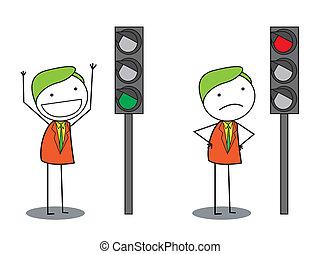 man traffic light