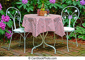 old-fashioned table and chairs