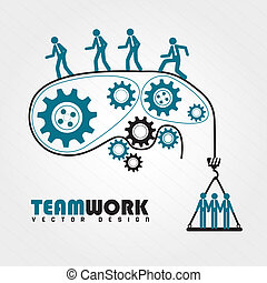 team work over white background vector illustration