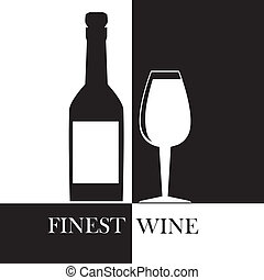 finest wine over black and white background vector...