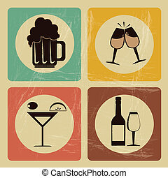 drinks icons over vintage background vector  illustration