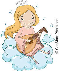 Girl Angel Playing Lute - Illustration of a Girl Angel...