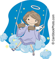 Girl Angel in a Cloud Swing - Illustration of a Girl Angel...