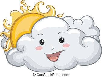 Happy Cloud Mascot with Sun