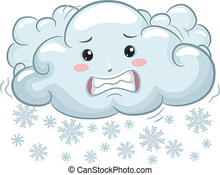 Shivering Cloud Mascot with Snowflakes - Illustration of...