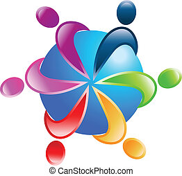 Teamwork around world logo vector - Teamwork people around...