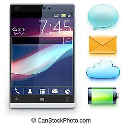 modern cellphone - Vector illustration of glossy modern...
