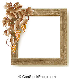 Wooden photo frame with grapes - Design wooden photo frame...