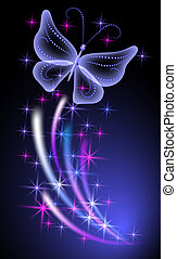 Glowing background with butterflies - Glowing background...