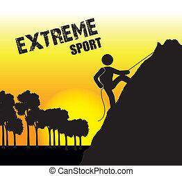 extreme sport over late afternoon background vector...