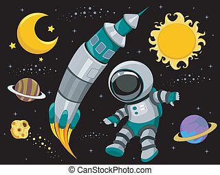 Outer Space Design Elements - Illustration of Outer Space...