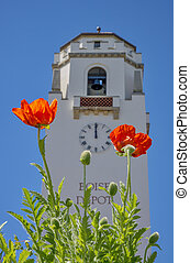 Boise Train Depot with Poppies - Orange Poppies and train...