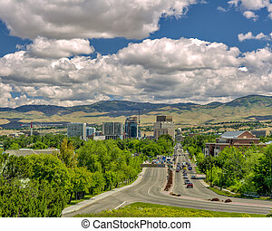 Idaho state capital at the end of a main street - Dramatic...