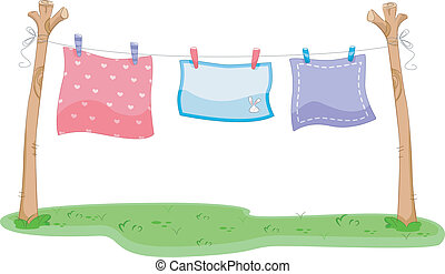 Hanging Blankets - Illustration of Blankets Hanging on a...