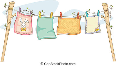Hanging Baby Blankets - Illustration of Baby Blankets...