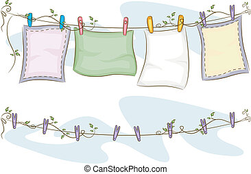 Hanging Blankets on Clothesline - Illustration of Blankets...