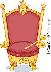 Royal Chair - Illustration of Shiny Red and Gold Royal Chair...
