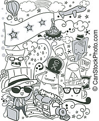 Doodle Travel - Illustration of a Doodle with Travel Theme