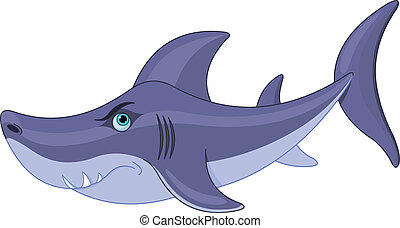 Cute Shark - Illustration of cute cartoon shark