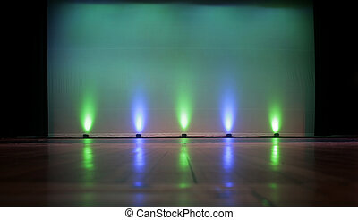 Stage - Empty with Screen - Empty Stage with a Blank Screen,...