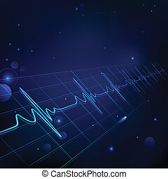 Healthcare and Medical - illustration of heart beats on...