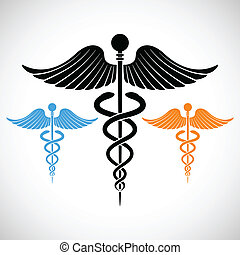 Colorful Medical Sign Caduceus - illustration of colorful...