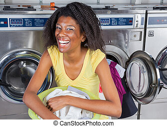 Cheerful Woman With Laundry Basket