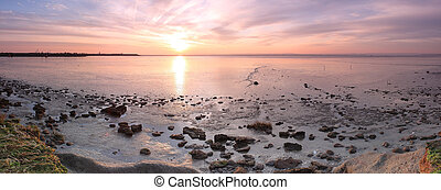 Thames Estuary Sunrise- Panorama - Panorama of the sunrise...