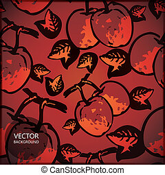 Card with quince - vector illustration