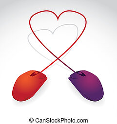 Two mice connected together with cables, forms the heart