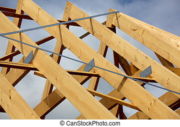 Truss framework - A new build roof with a wooden truss...
