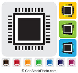 CPU or computer processor icon(symbol)- simple vector...