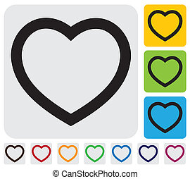 human heart(love) icon(symbol) outline- simple vector...