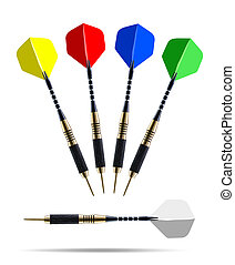 Set of color darts isolated on white background