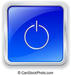 Power icon on blue button