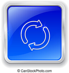 Update icon on blue button - Blue glass button with chrome...
