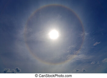 Halo around of the sun - Circles halo in the blue sky around...