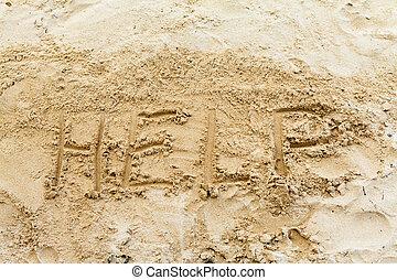 Help Sign on the beach