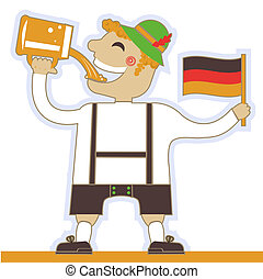 German man drinking beer and holding flag.Vector oktoberfest illustration isolated on white for design