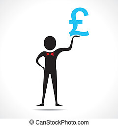 Man holding pound symbol vector