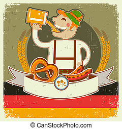 vintage oktoberfest posterl with German man and beer.Vector illustration on old paper for text
