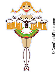 oktoberfest waitress with glasses of beer.Vector woman illustration isolated