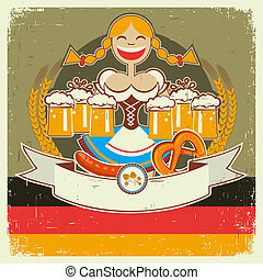 Vintage oktoberfest poster label with girl and beer on old...